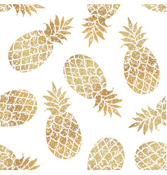 golden pineapples seamless pattern on white vector image
