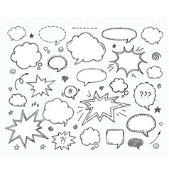 hand drawn set of speech bubbles and arrows vector image vector image