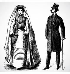 retro bride and groom vector image vector image