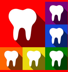 tooth sign set of icons with vector image