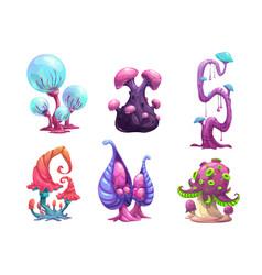 Beautiful fantasy mushrooms set vector