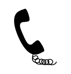 black silhouette handset with cord vector image vector image