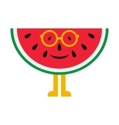 Cheerful cartoon watermelon in glasses on a white vector