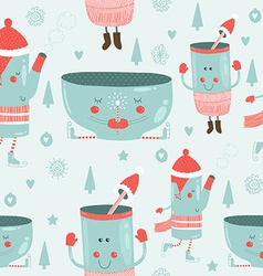 christmas background with mugs vector image