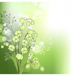green background with spring flowers vector image