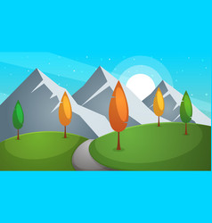 road cartoon summer landscape vector image vector image
