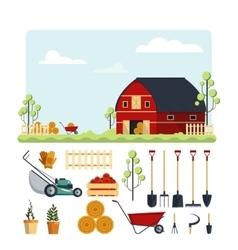 Set farm tools flat- Garden vector image