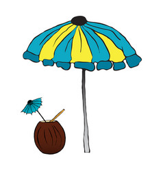 summer cocktail under the umbrella vector image