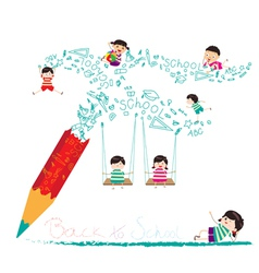 back to school with pencil vector image