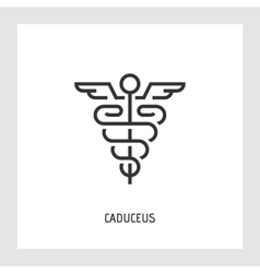 Caduceus icon Thin line sign vector image