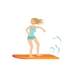 Girl On The Surf Board vector image vector image