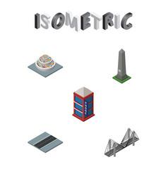 isometric city set of phone box dc memorial vector image