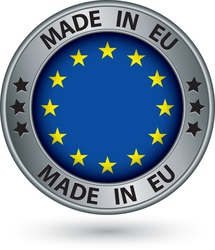 Made in European Union silver label with flag vector image vector image