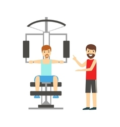 Man Doing Arms Exercise With Help Of Personal vector image vector image