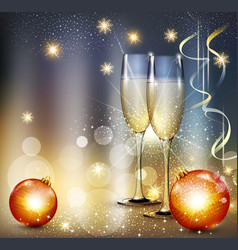romantic christmas background with two glasses and vector image