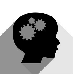 thinking head sign black icon with two vector image vector image