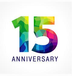 15 anniversary color logo vector