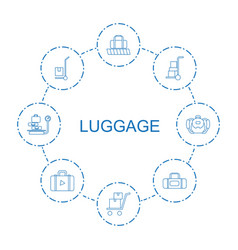 8 luggage icons vector