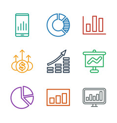 9 graph icons vector image