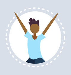 african american man raising hands up round frame vector image