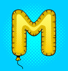 air balloon in shape of letter m pop art vector image