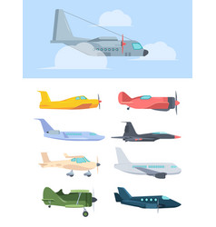 airplanes stylish set big passenger liners cargo vector image