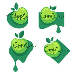Apple fruit flavor logo with lettering composition vector