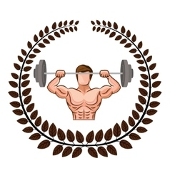 arch of leaves with muscle man lifting a disc vector image