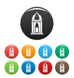 Asian temple icons set color vector