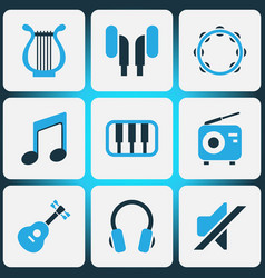 audio colored icons set collection of note piano vector image