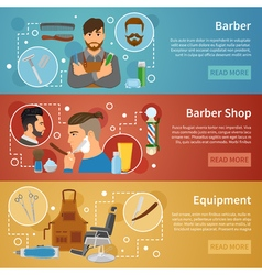 Barber Shop Banners Set Flat Style vector