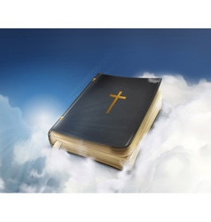 Bible old book in the clouds vector image