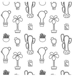 black and white outlined cactus seamless vector image