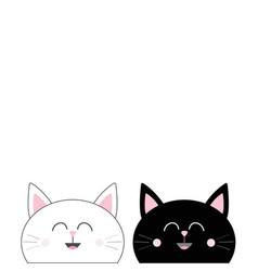 black white cat head couple family icon cute vector image