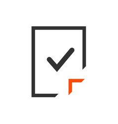 blank document icon with checkmark page icon vector image