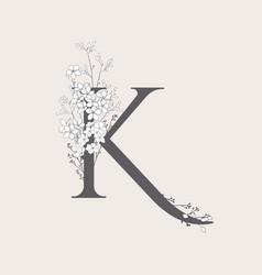 Blooming floral initial k monogram and logo vector