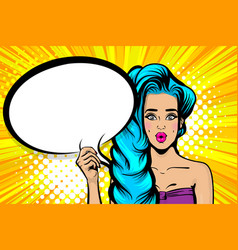 Blue hair sesy pop art woman speech bubble vector