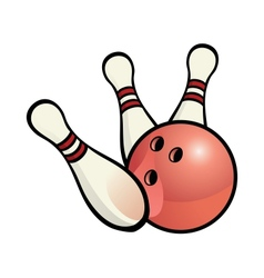 Bowling ball with pins vector