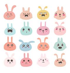 bunny face emoticons set vector image