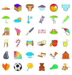 carousel icons set cartoon style vector image
