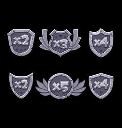 Cartoon bonus numbers on stone shield with blue vector