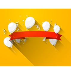 Celebrate red banner with balloons vector