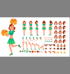 Cheerleader girl animated character vector