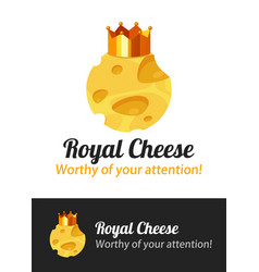cheese emblem with golden crown - badge vector image