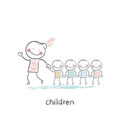 Children and adults vector image vector image