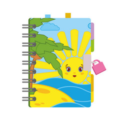 Closed personal diary with a lock and a bright vector