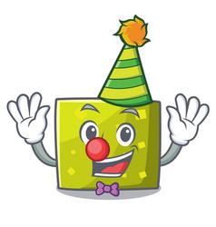 clown square mascot cartoon style vector image