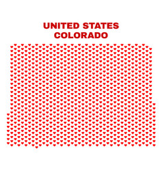 colorado state map - mosaic of heart hearts vector image