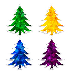colorful and glowing christmas trees isolated on vector image