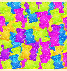 Colorful gummy bears candies background sweets vector